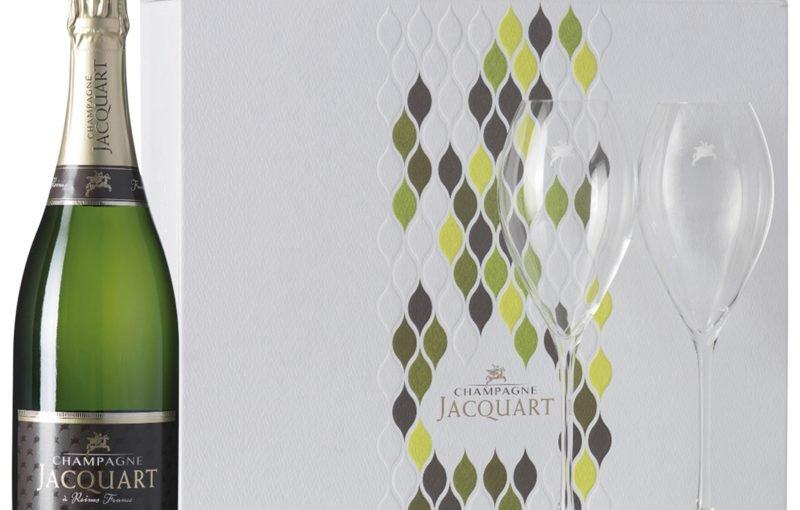 Jacquart brut Mosaïque (in geschenkverpakking met twee kristallen flûtes)